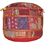 Lalhaveli Patchwork Zari Embroidery Cotton Ottoman Cover 14 X 22 X 22 Inches Red