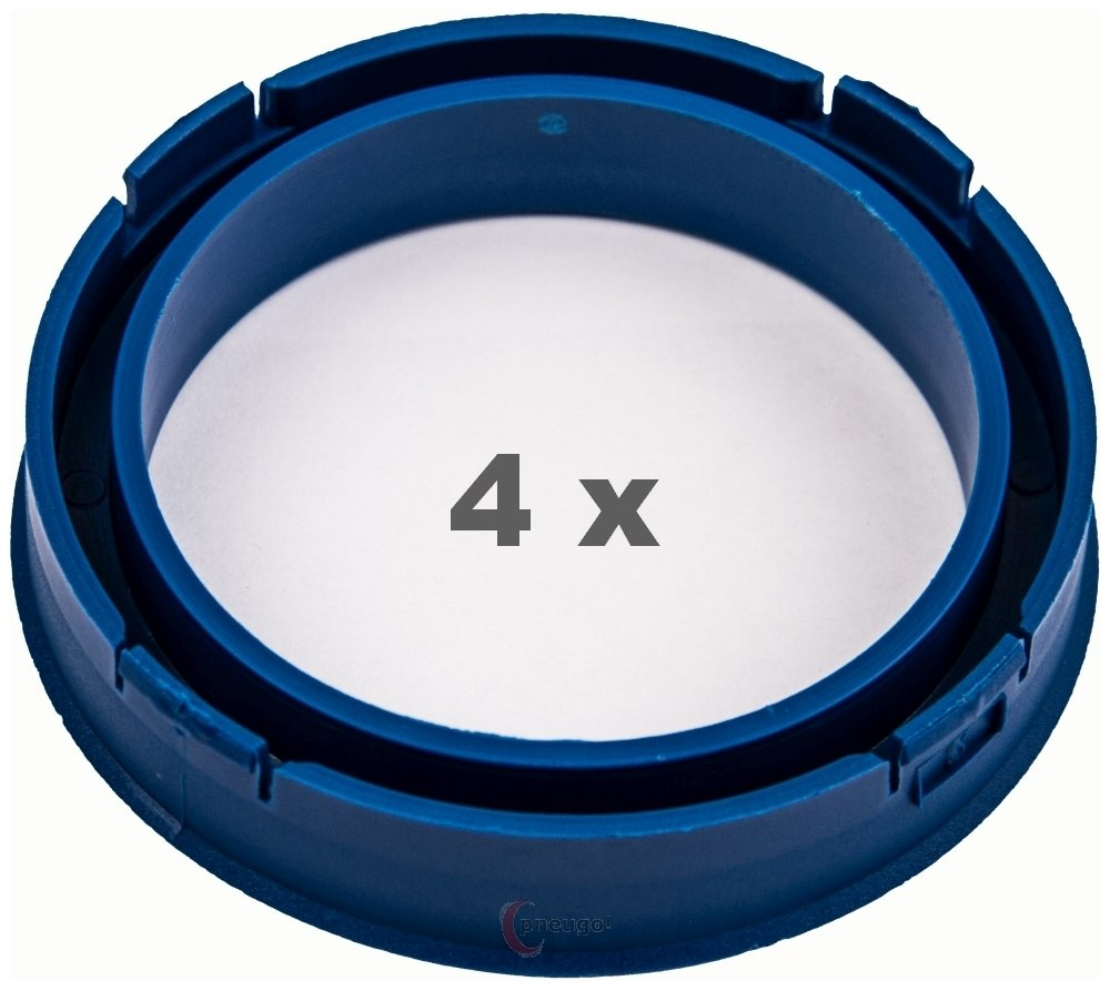 4 x Centring Rings 73.1 mm to 57.1 mm Blue Pneugo