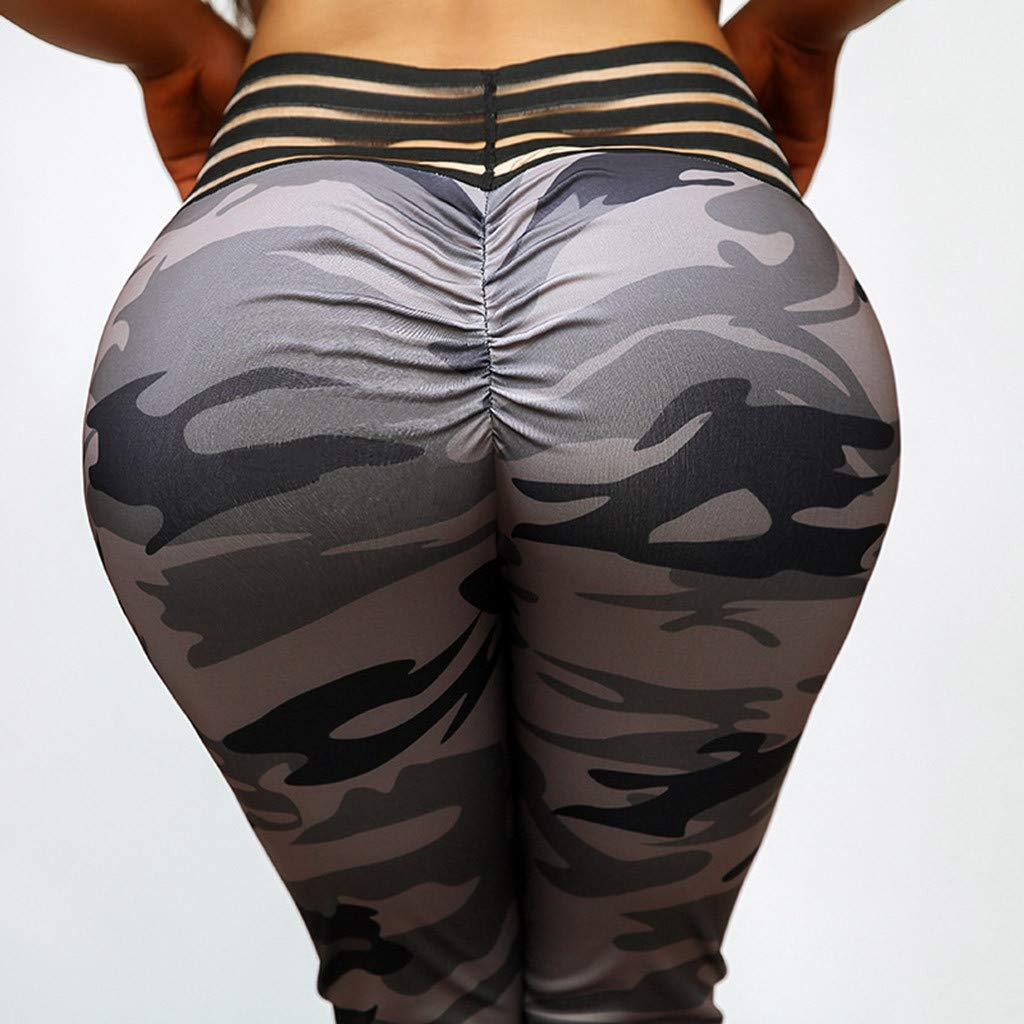 Kangma Women Yoga High Waist Pants Tummy Control Camouflage Print Workout Running Leisure Leggings Trousers by Kangma Women (Image #4)