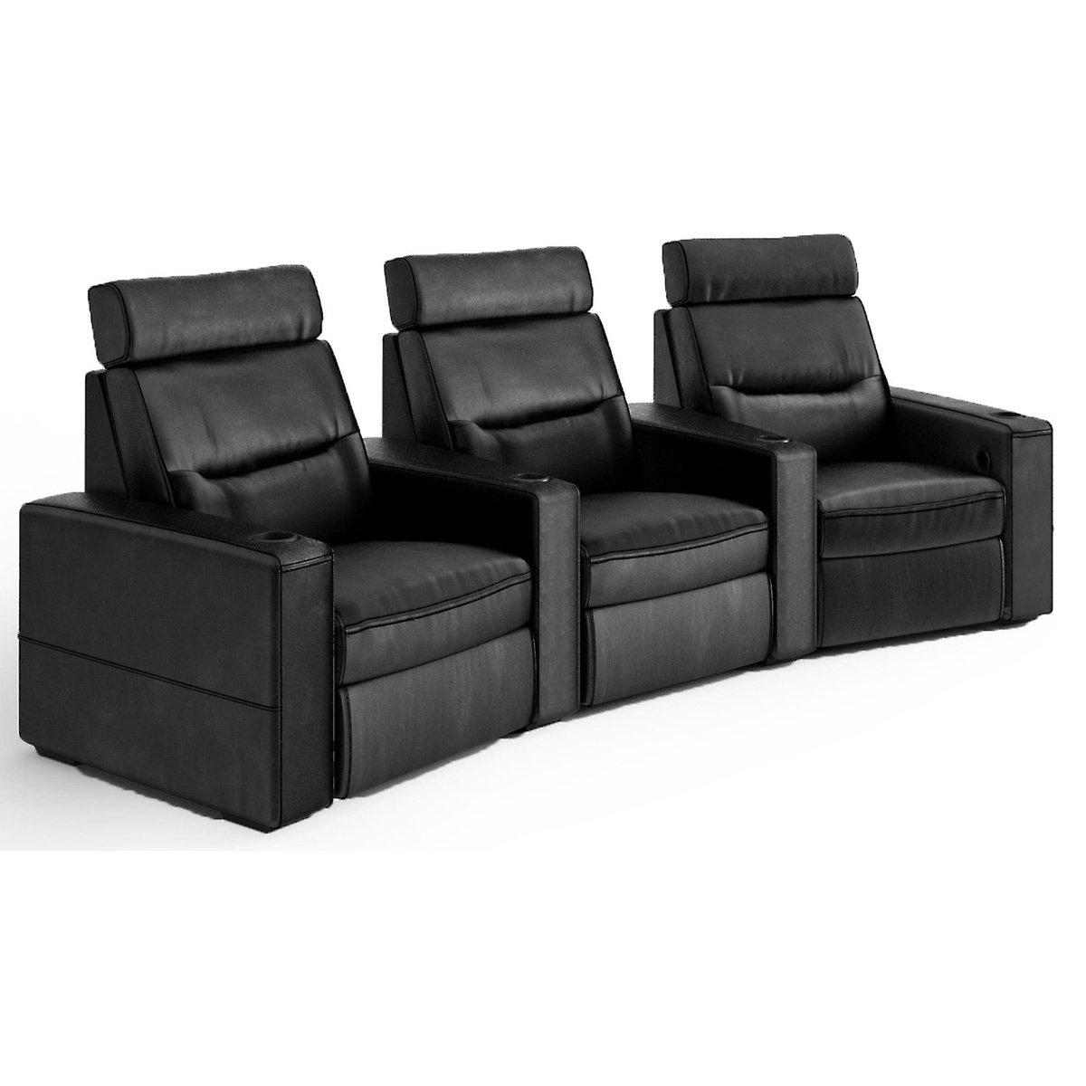 Salamander TC3 AV Basics 3-Seat Wedge Motorized Recliner Home Theater Seating (Black Bonded Leather)