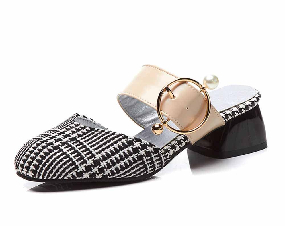 Frauen geschlossen Zehe Hausschuhe Sommer Mode Metall Schnalle Sandalen große Größe 40-43