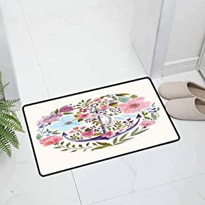 Kitchen Indoor Outdoor Non Slip Door Mat Office Door Mat Nautical and Floral Anchor Flowers Watercolor Bouquet Marine Symbol with Non Slip Backing, 29.5 x 18 inch White Pink Green