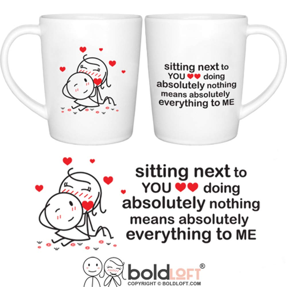 BOLDLOFT You Mean Everything to Me His and Hers Coffee Mugs- Couple Coffee Mugs,Couple Gifts,Gifts for Boyfriend and Girlfriend,Husband and Wife,Anniversary Christmas Valentine's Day Wedding Newlyweds