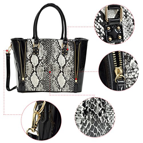 Dasein brown Top 100 Work Print Zip Fashion Shoulder Purse Snake Women's Satchel Tote Handbags Bag rFn46SqrwI