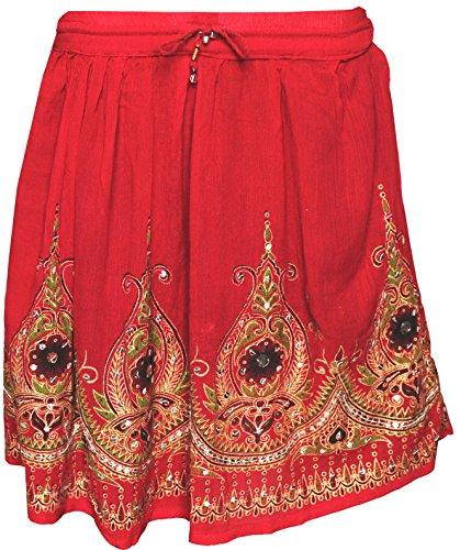 Femmes Jupes Indiennes Longueur Genou Paillettes Inde Vtements Rouge 2