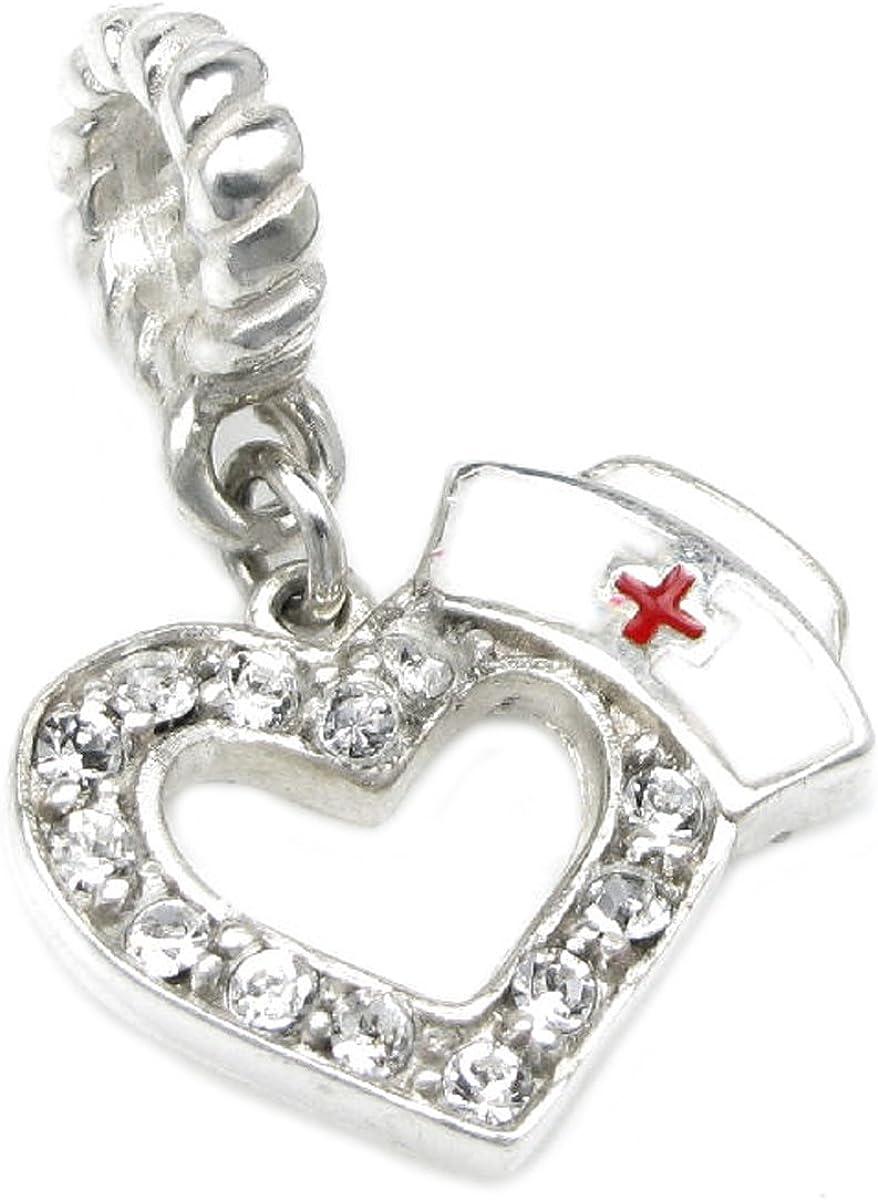 Queenberry Sterling Silver Cubic Zirconia RN Nurse Cap Hat European Dangle Heart Bead Charm