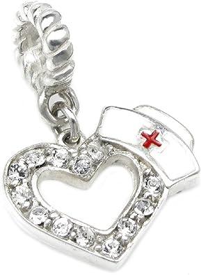QUEENBERRY Colgante para Pandora/Troll/Chamilia/Biagi/pulsera de charms europea, plata de ley, corazón con sombrero de enfermera y cruz roja de esmalte: Amazon.es: Joyería