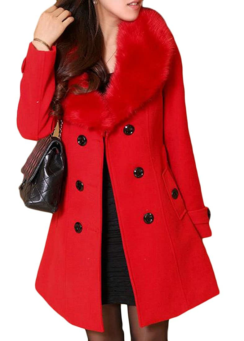 Frieed Women's Winter Faux-Fur Collar Pea Coat Belted Woolen Trench Coats Jacket