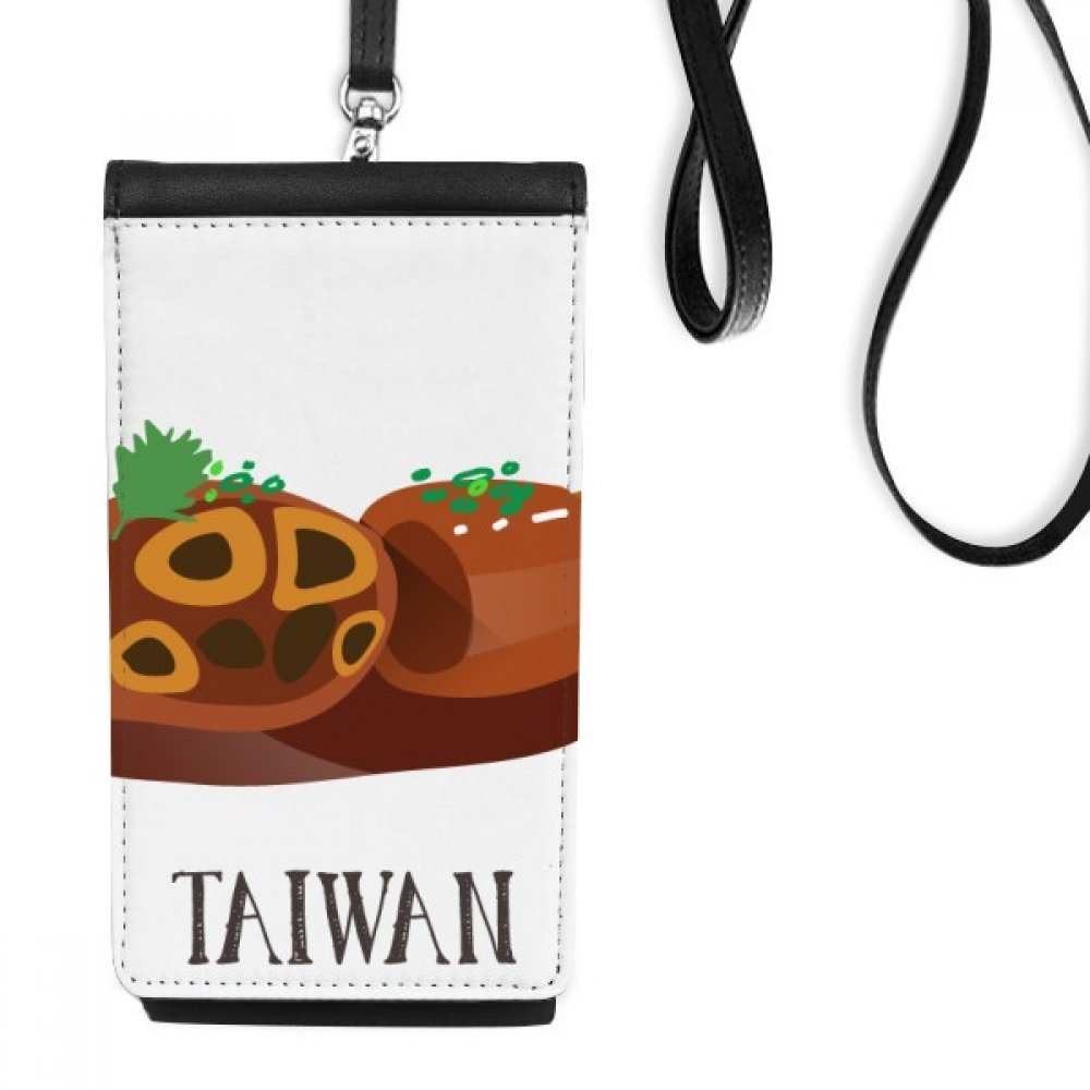 Snake Large intestine Taiwan Travel Faux Leather Smartphone Hanging Purse Black Phone Wallet Gift