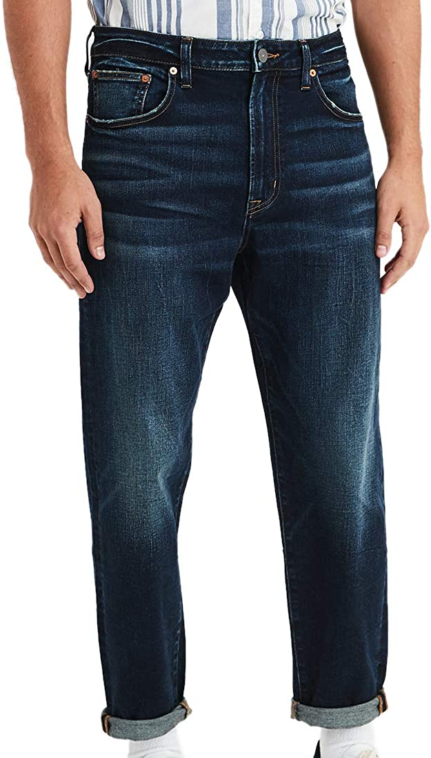 American Eagle Mens 01224532 Relaxed Taper Jean, Dark Blue Wash