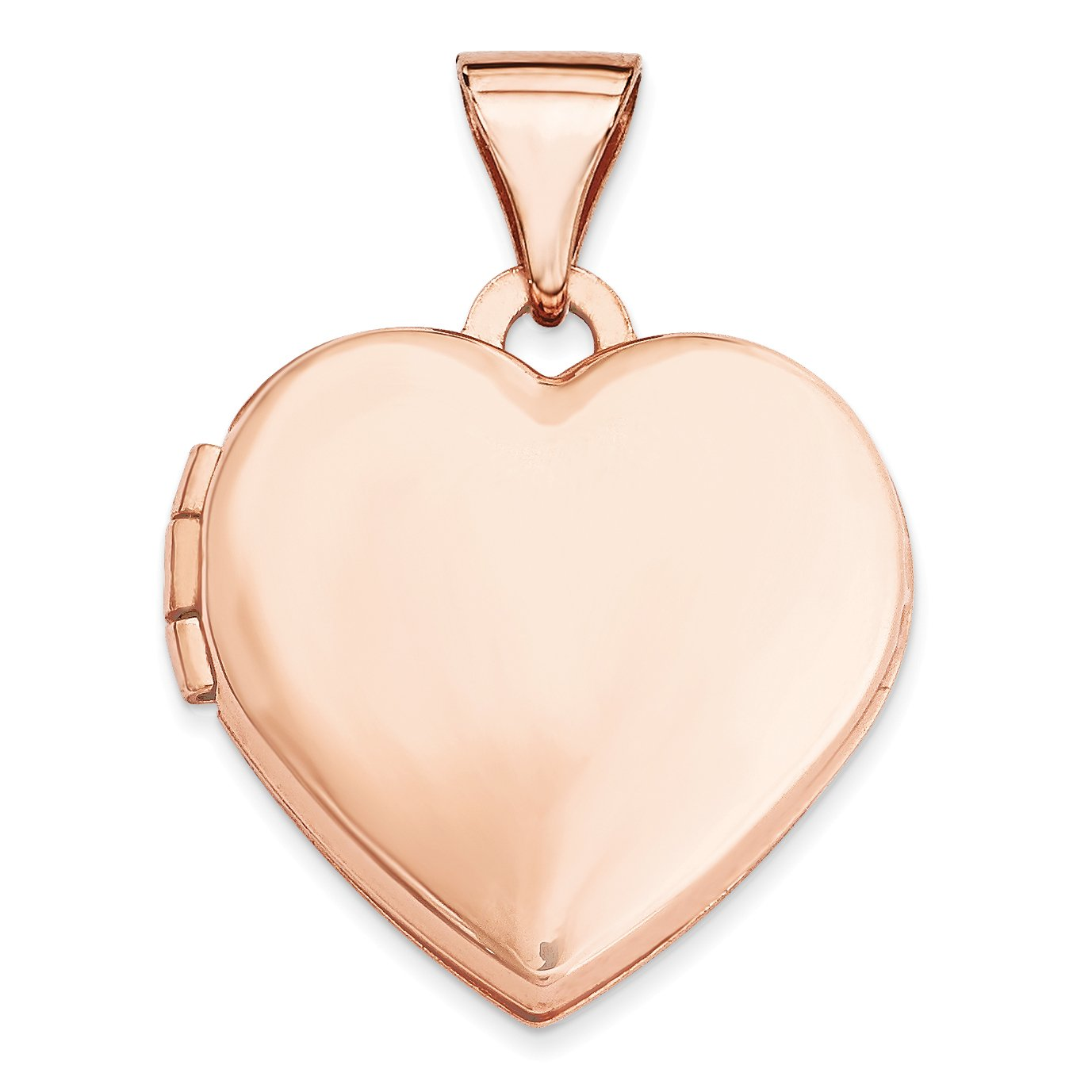 ICE CARATS 14k Rose Gold 15mm Plain Heart Photo Pendant Charm Locket Chain Necklace That Holds Pictures Fine Jewelry Gift Set For Women Heart
