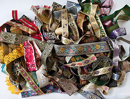 Jacquard Trim New Braid Lace Ribbon Quilting Lot of 50 Remnant 1 Yard Pieces DIY