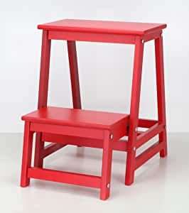 CAIJUN Taburete Plegable De Escalera Sillas Roja De 2 Capas Casa Banco De Pie De Madera, 8 Colores Grados 50cm, Taburete Escalera Peldaños (Color : Rojo): Amazon.es: Hogar