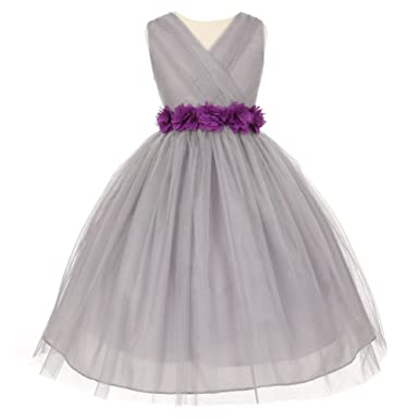 Amazon little girls silver purple chiffon floral sash tulle little girls silver purple chiffon floral sash tulle flower girl dress 2 mightylinksfo