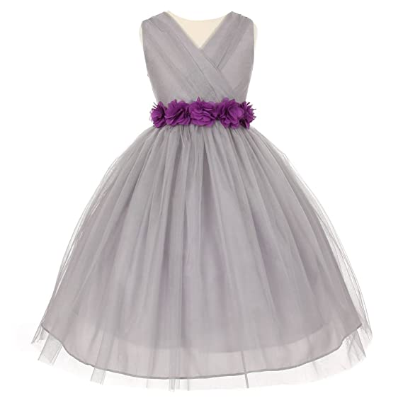 fa696c0ec19 Big Girls Silver Purple Chiffon Flowers Tulle Junior Bridesmaid Dress 8-14   Amazon.co.uk  Clothing