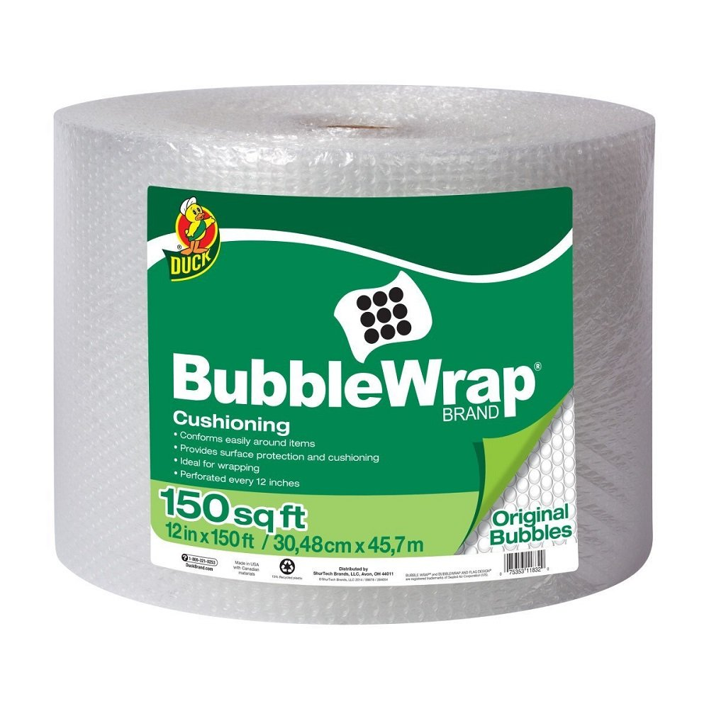 Duck Brand WKIaEq Bubble Wrap Original Cushioning, 12 in. x 150 ft. (2 Pack)
