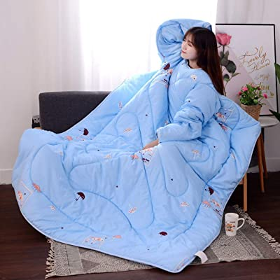 Wearable Blanket Lazy Quilt with Sleeves ,Lazy Bed Couch Quilt Winter Quilt with Zipper on Back Also As Weighted Sleep Sack for Women Men and Child Warm Comforter(Type-13): Home & Kitchen
