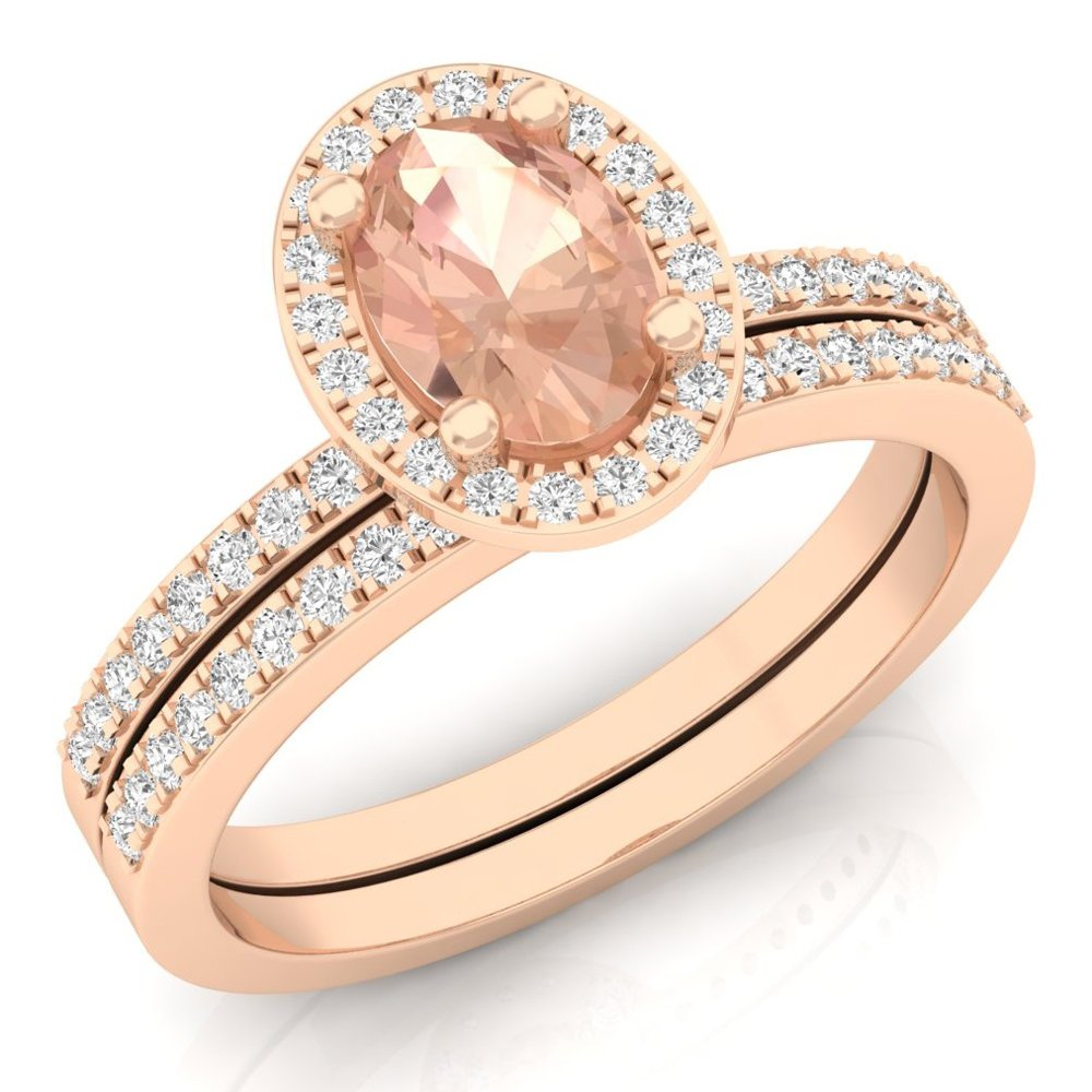 Dazzlingrock Collection 10K Oval Morganite & Round White Diamond Bridal Halo Engagement Ring Set, Rose Gold, Size 6