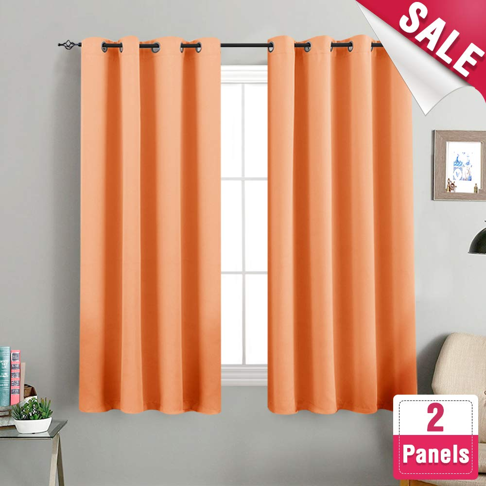 Amazon.com: Blackout Curtains Bedroom Triple Weave Room Darkening Curtain  Panels Kids Room Thermal Insulated Living Room Drapes Grommet Top, 1 Pair  Orange: ...
