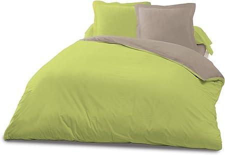 Housse de couette et une taie d'oreiller bicolore anis