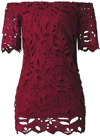 Women Elegant Off Shoulder Half Sleeves Floral Lace Mini Dress Backless Ruffle Party Dress