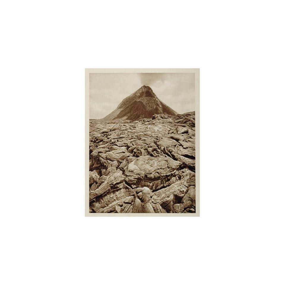 1925 Mount Vesuvius Volcano Crater Cone Lava Flow Italy   Original Photogravure