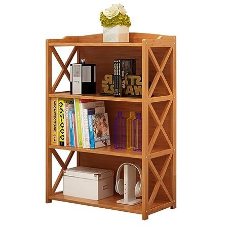 ZHANGRONG Bamboo Simple Bookcase Floor Cross Modern Minimalist Childrens Student Solid Wood Bookshelf