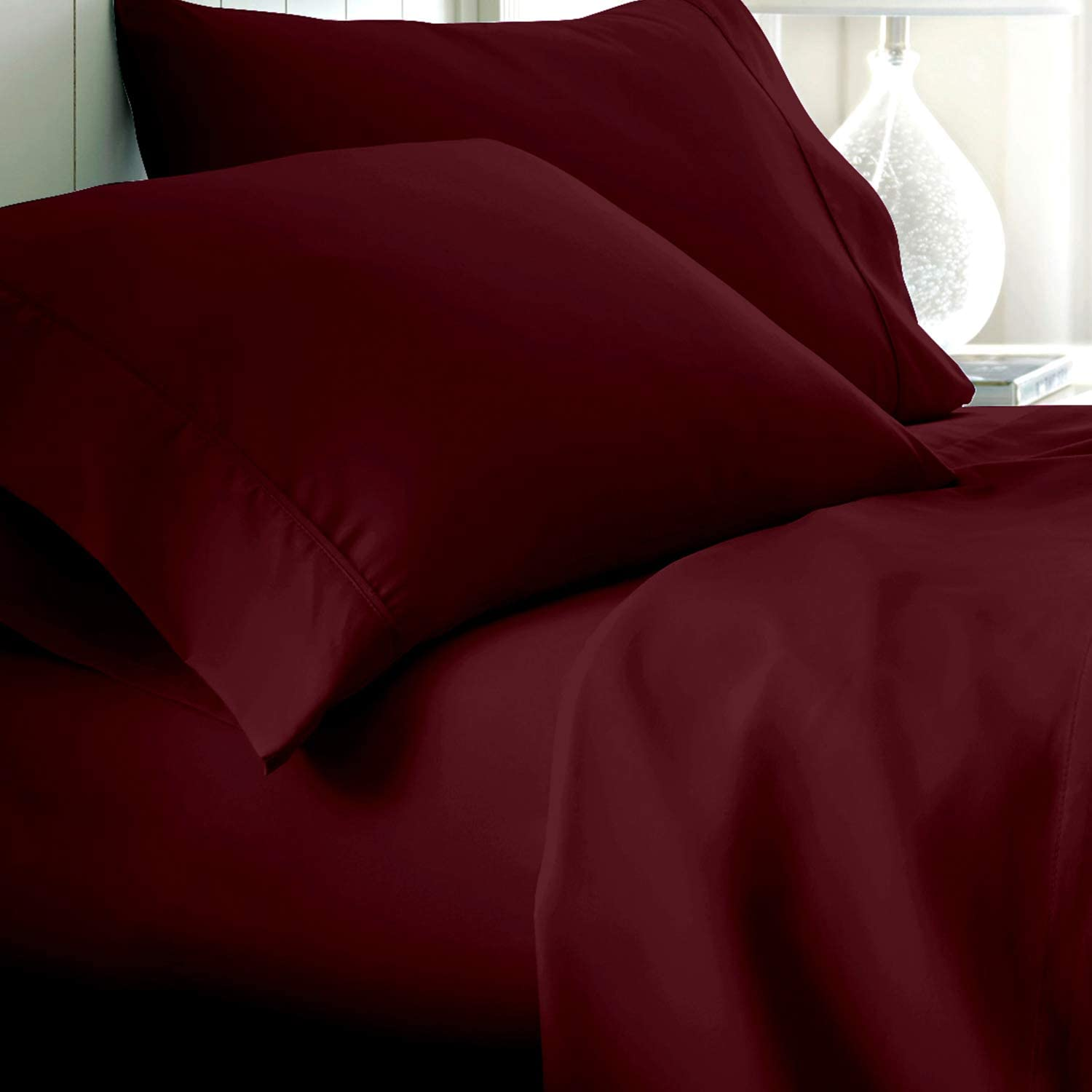 1000 Thread Count Egyptian Cotton All Bedding Items US Sizes Wine Stripe