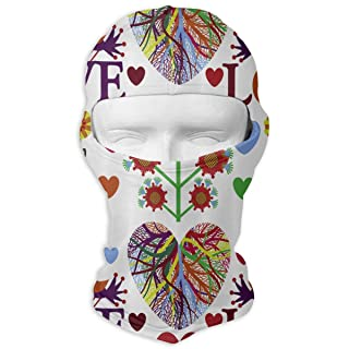 Balaclava Full Face Mask Love Root Hearts Windproof UV Protection Neck Hood Ski Mask for Motorcycle Cycling Outdoor Sports