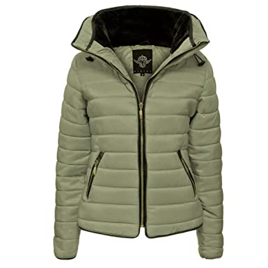Womens Ladies Quilted Padded Coat Bubble Puffer Jacket Fur Collar Hooded  Thick  Khaki bdd0c17981