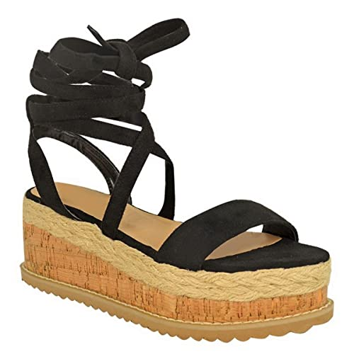 71c906c8eb9 WOMENS LADIES FLATFORM CORK ESPADRILLE WEDGE SANDALS ANKLE LACE UP SHOES  SIZE  Black Faux Suede