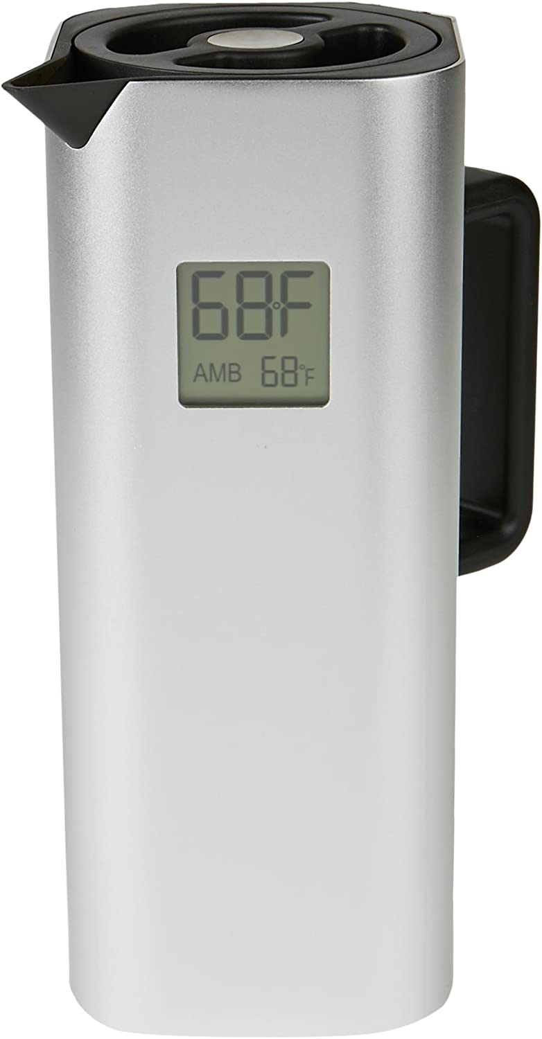 Mind Reader Double Walled Thermal Carafe,Temperature Display, Holds up to 4 Cups of Coffee, 32 oz, Silver
