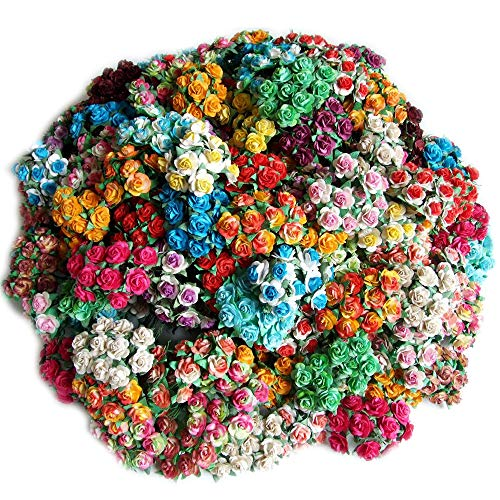 ICRAFY Assorted 100 Tiny Rose Mulberry Paper Flower Artificial Craft Scrapbook Wedding Supply Accessory DIY, White Blue Green Yellow Purple Red Pink Brown Orange Color, Size 1.5 cm.