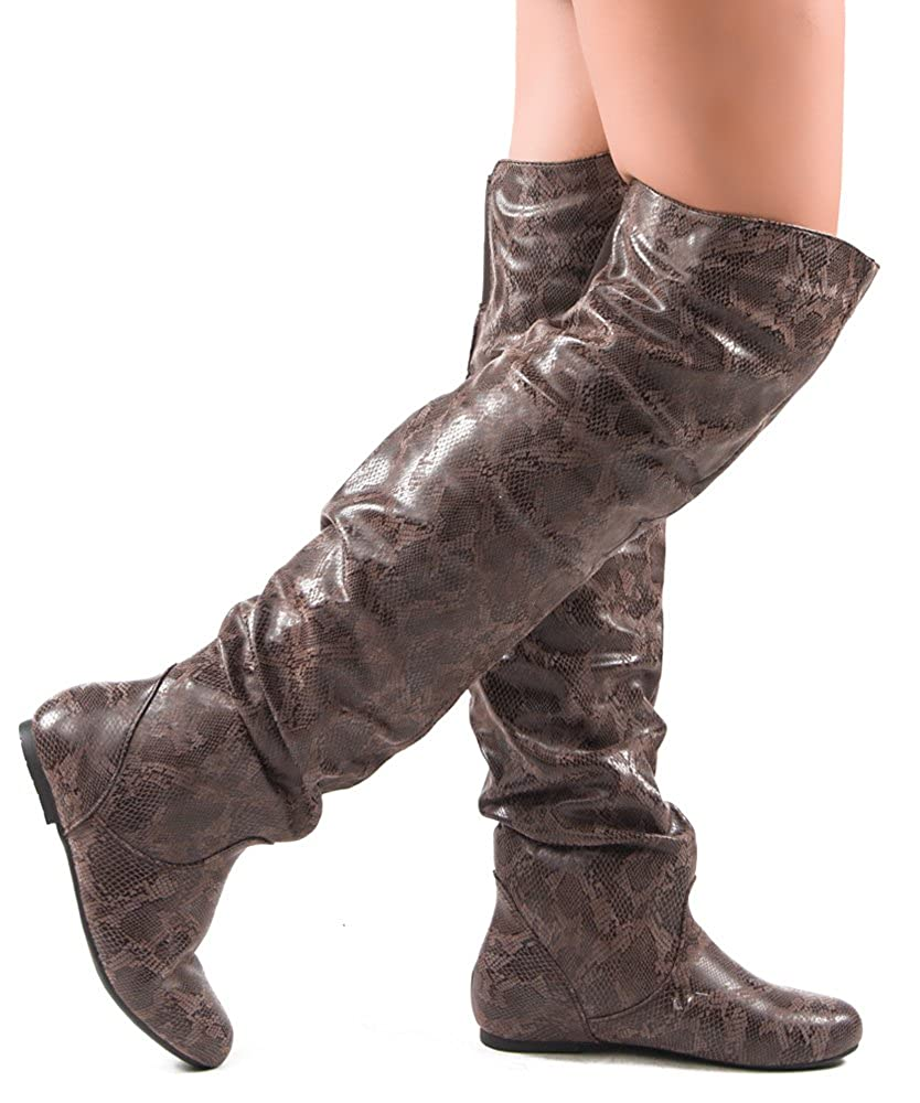 RF ROOM OF FASHION Trend-HI Over-The-Knee Slouchy Shaft Flat Low Heel Boots
