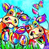 (US) MXJSUA 5D Diamond Painting Kit by Numbers DIY Crystal Rhinestone Cross Stitch Embroidery Arts Craft Picture Supplies for Home Wall Decor,Multicoloured Cute Cartoon Cow - 11.8x11.8 inches