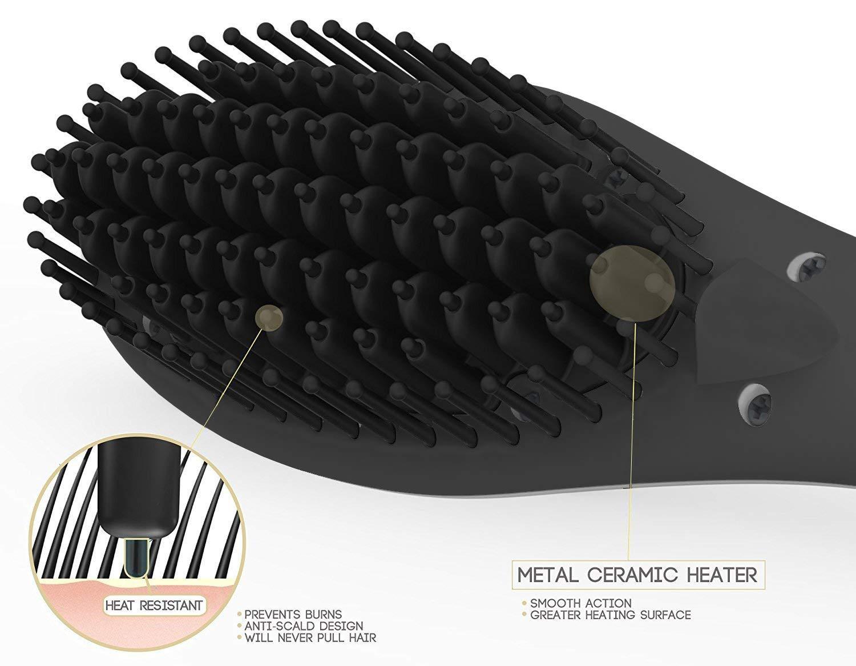 Cepillo alisador de cabello de segunda generación HSD, cepillo de cuidado de aniones Cepillo alisador eléctrico de cabello, anti escaldadura anti estática ...