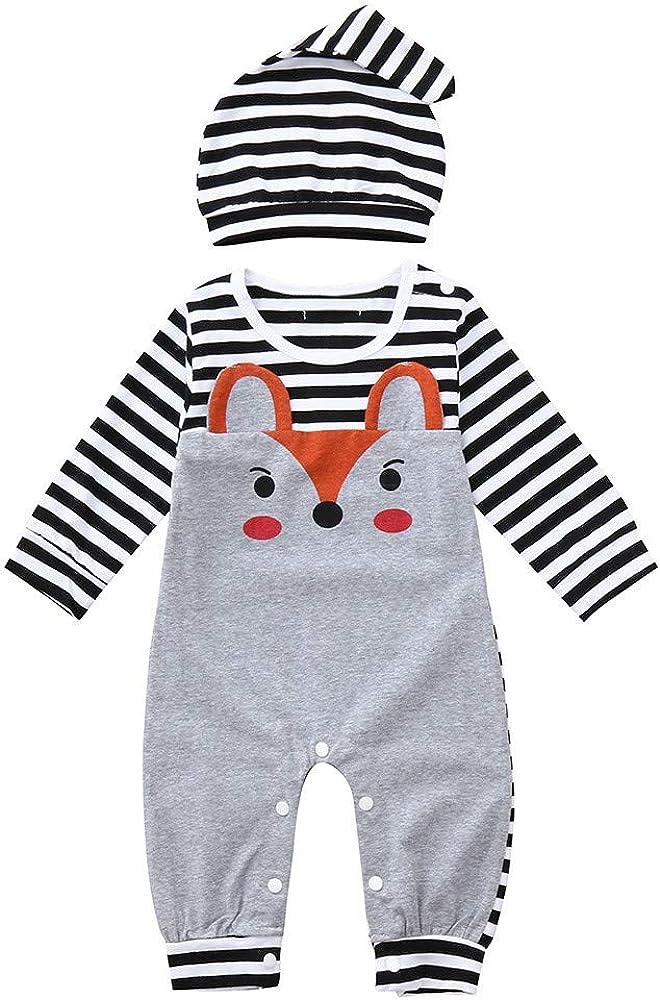 Baby Boy Girl Jumpsuit Romper Infant Newborn Long Sleeve Fox Print Stripe Hat Pajamas Sleepwear Outfit TM Outtop