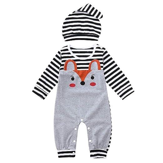 6ccc14220ae Amazon.com  Yalasga Infant Baby Girls Boys Long Sleeve Fox Print Stripe  Romper Hat 3-24 Months Cute Jumpsuit Outfits  Clothing