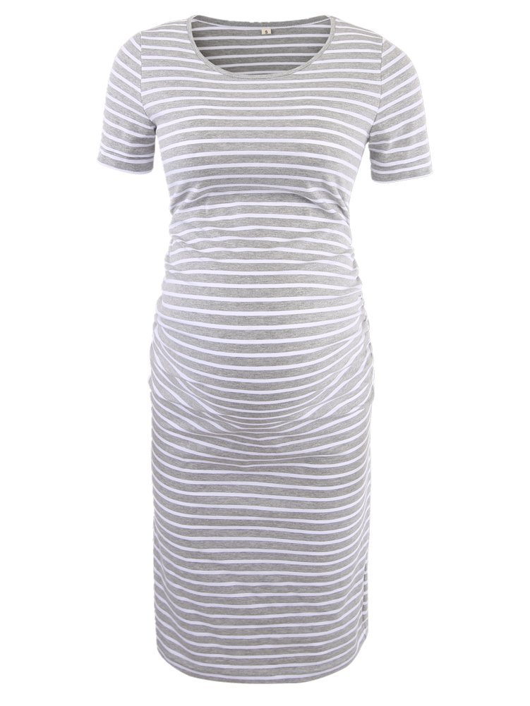 Women's Ruched Maternity Bodycon Dress Mama Causual Short Sleeve Wrap Dresses by Liu & Qu (Image #2)