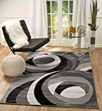 "SUMMIT BY WHITE MOUNTAIN Summit 64-GQ5S-4WDH 104 New Grey Area Rug Modern Abstract Many Sizes Available (4×6 actual size 3′.6"" x 5′)"