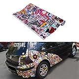 "60"" X 20"" Car Vinyl Sticker JDM Panda Cartoon Graffiti Bomb Wrap Sheet Decal Sticker for Universal Car"