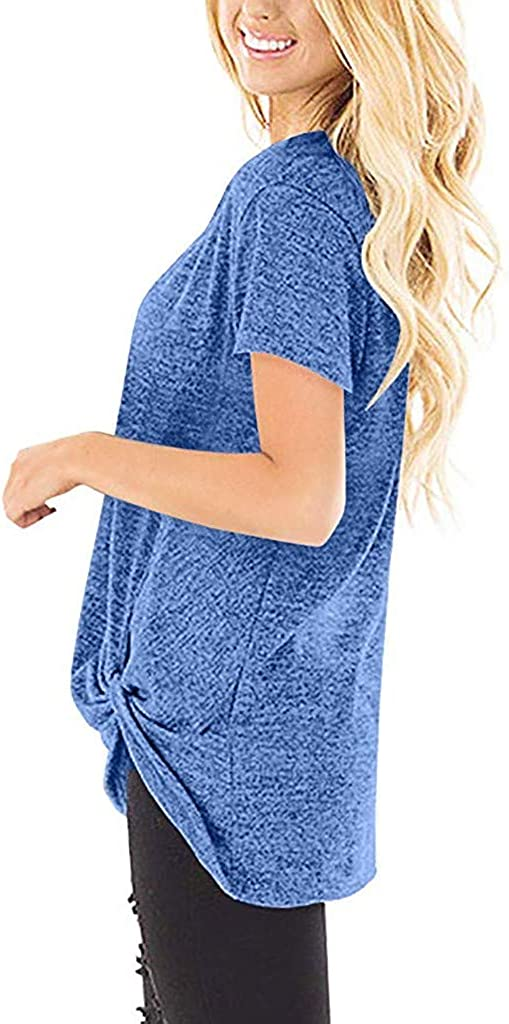 Loyalt Fashion Women Casual Solid Color Short Sleeve O Neck Blouse Twist Knotted Tops T Shirt