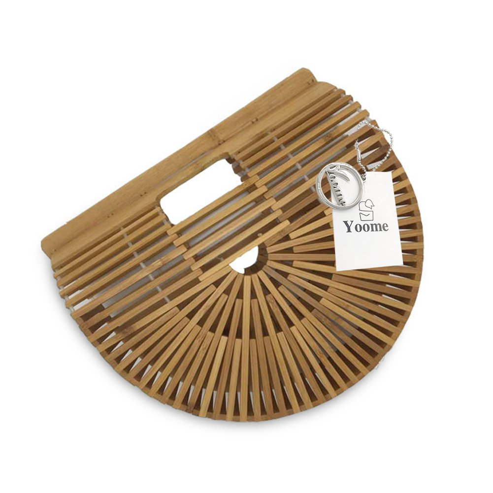 Yoome Top Handle Bamboo Bags Handmade Straw handbags Beach Tote Bag For Women Vintage Bamboo Handbags - Wood Color