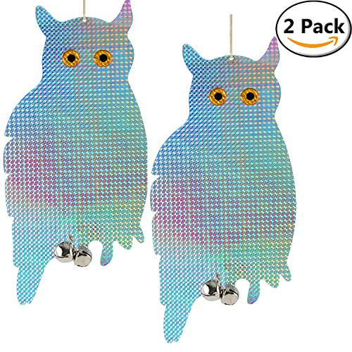 Blue Barn Feeder (Bird Pest Deterrent Reflective Owls - Reflective Hanging Owl - Pest Repellent Control Woodpecker Deterrent Device - Scare and Frighten Pigeons, Seagulls, Pests to Protect Flowers and Garden (2 pack))