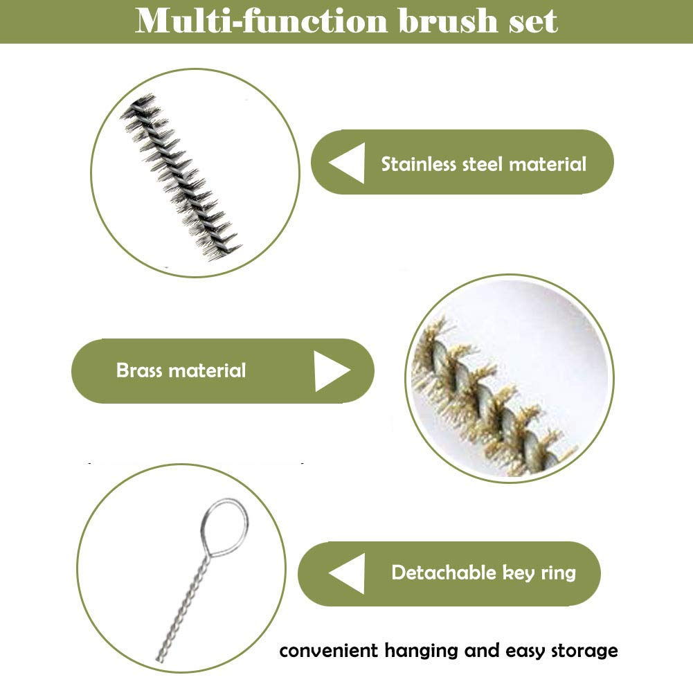 YXQ 12-Piece Tube Brush Kit Stainless Steel /& Brass Wire Bottle Long-Handle Bristle Cleaning 12 X 6mm//8mm//10mm//12mm//15mm//20mm