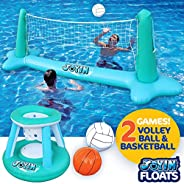 Inflatable Pool Float Set Volleyball Net & Basketball Hoops Balls for Kids and Adults Swimming Game Toy, F