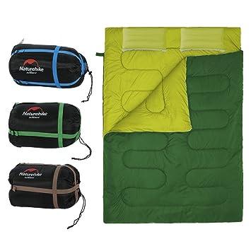Saco de Dormir Portátil para 2 Personas Bolsa de Dormir de 4 Estaciones con Almohada para Camping Senderismo al Aire Libre (Color : Ejercito verde) : ...