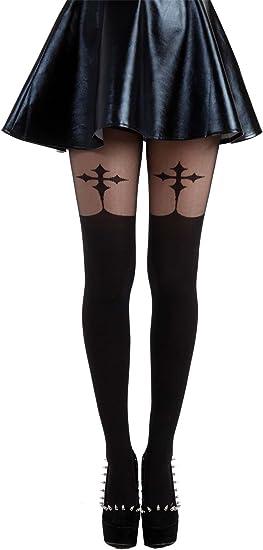 Collant grande taille noir imitation bas motif croix gothique