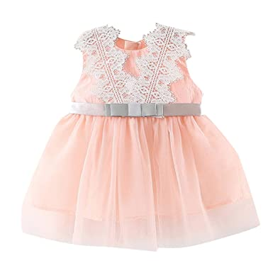 c50537407323 Amazon.com: Dsood Girl Lace Dress, Infant Baby Girl Dresses Floral Tutu  Skirt Knitted Tulle Short Sleeve Floral Princess Dress: Clothing