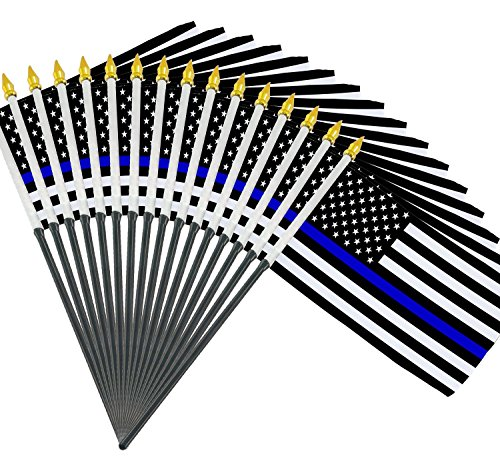 NAF Imports 12 pack of 4x6 InchThin Blue Line American Law Enforcement Flags (Line Stick)